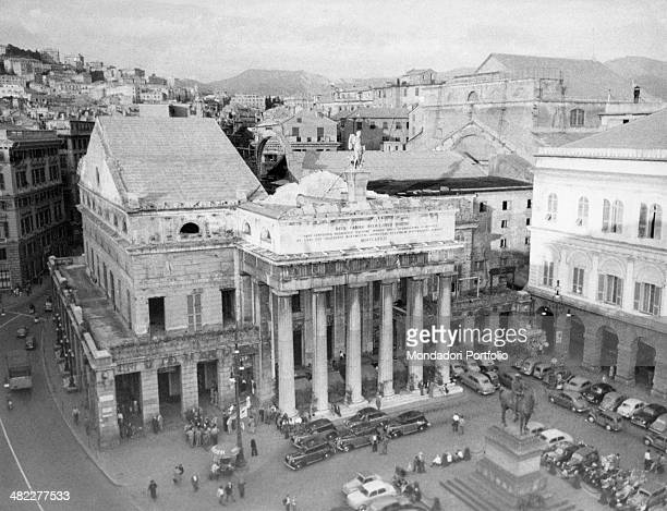 View of the exterior of the Teatro Carlo Felice in Genoa rebuilt after the bombings of the Second World War Genoa 1955