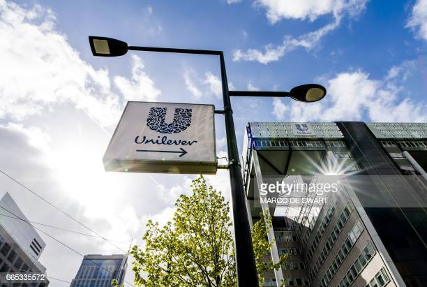 A view of the exterior of the Unilever building at the Weena in Rotterdam on April 6 2017 Unilever is stopping the production of margarine brands...