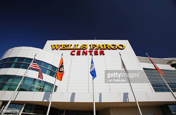 A view of the exterior of the Wells Fargo Center the home of the Philadelphia Flyers prior to a NHL game against the Toronto Maple Leafs on October 2...
