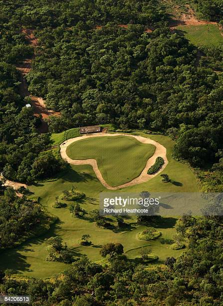 A view of the Extreme 19th hole from the tee Par 3 631m long where the tee is at the top of Hanglip mountain and the green is the shape of Africa at...