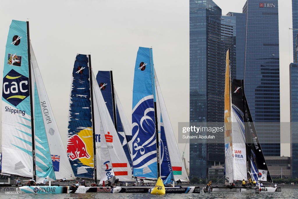 A view of the Extreme 40 fleets race during day one of the Extreme Sailing Series at Marina Bay Reservoir on April 11, 2013 in Singapore.