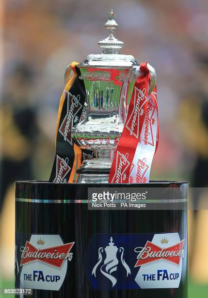A view of the FA Cup Trophy on its plinth prior to kick off