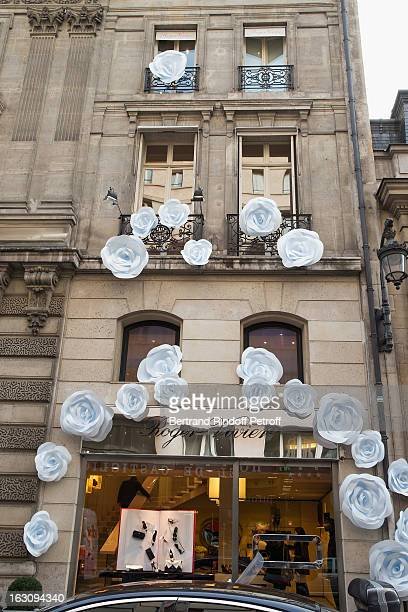A view of the facade decorations above the boutique Roger Vivier prior to the Roger Vivier Cocktail to celebrate the launch of the book 'Roger...
