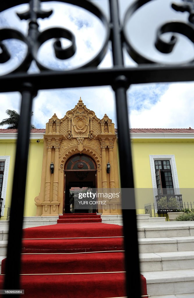 A view of the facade of the Ministry of Foreign Affairs building, known as 'The Yellow House' in San Jose on February 17, 2010. Andrew Carnegie donated funds to construct this building in 1912, which originally acted as the headquarters for the Central American Court of Justice, and in 1921 was changed to house the Ministry of Foreign Affairs. AFP PHOTO/ Yuri CORTEZ /
