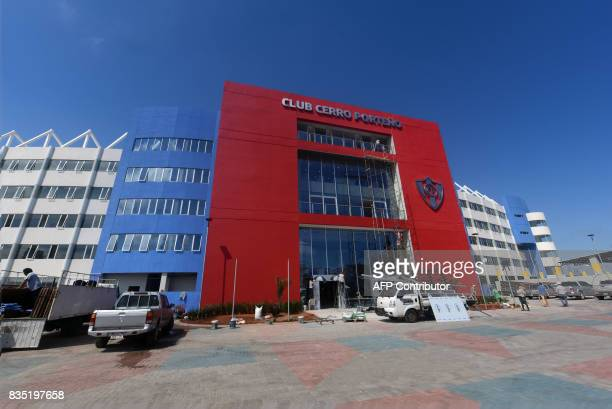 View of the facade of the new stadium of Paraguayan football team Cerro Porteno 'La nueva olla' in Asuncion on August 18 2017 The stadium to be...