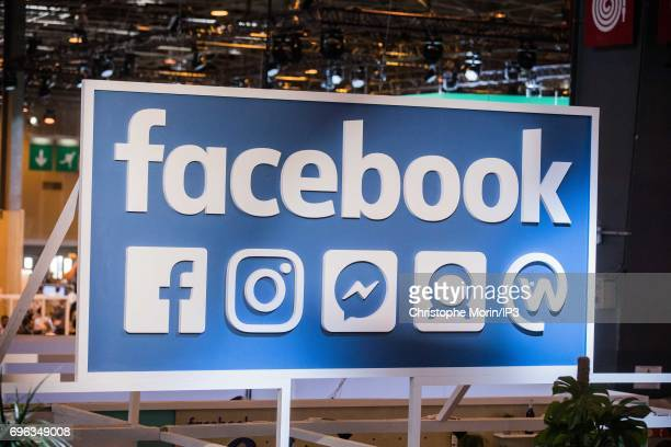 A view of the Facebook logo during Viva Technology at Parc des Expositions Porte de Versailles on June 15 2017 in Paris France Viva Technology is a...