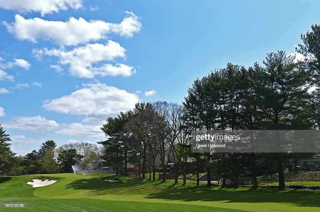 A view of the fairway on approach to the seventh hole on the East Course at Merion Golf Club on April 22, 2013 in Ardmore, Pennsylvania. Merion Golf Club is the site for the 2013 U.S. Open that will be played June 13-16.