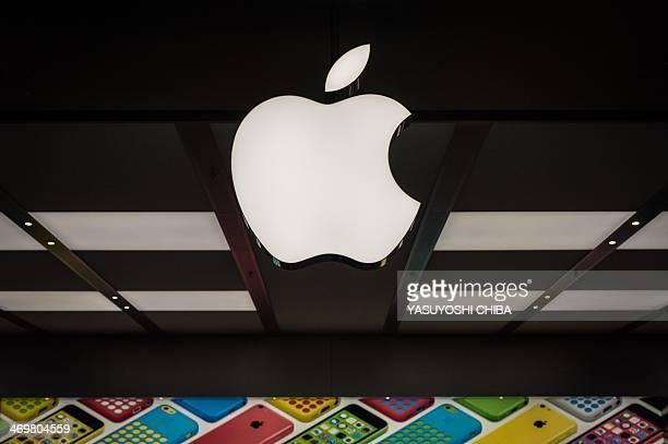 View of the famous logo at new Apple store in Barra da Tijuca Rio de Janeiro Brazil on Februrary 16 2014 The first Apple Store in Latin America...