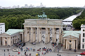A view of the fashion week tent past the Brandenburg Gate during the MercedesBenz Fashion Week Berlin Spring/Summer 2016 on July 9 2015 in Berlin...