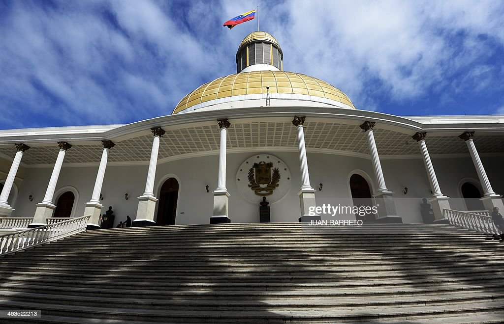 View of the Federal Legislative Palace also known as Federal Capitol in Caracas on January 17 2014 AFP PHOTO/JUAN BARRETO