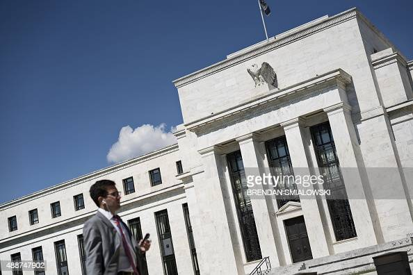A view of the Federal Reserve September 17 2015 in Washington DC The Federal Reserve held its key interest rate locked at zero Thursday pointing to...