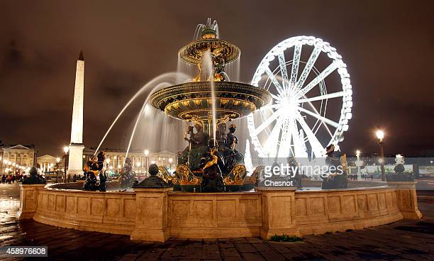 A view of the Ferris wheel at 'Place de la Concorde' during Christmas illuminations on November 14 2014 in Paris France The 65meter high Ferris Wheel...
