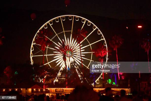 A view of the Ferris wheel during day 2 of the 2017 Coachella Valley Music Arts Festival at the Empire Polo Club on April 22 2017 in Indio California