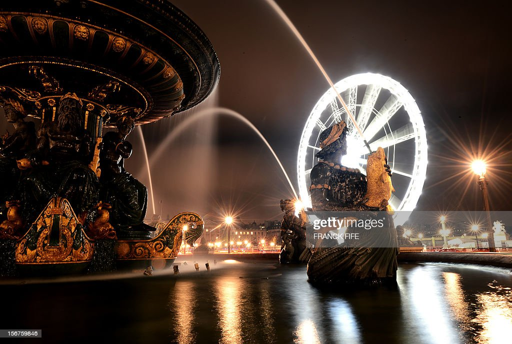 View of the ferris wheel on place de la Concorde on November 20, 2012 in Paris.