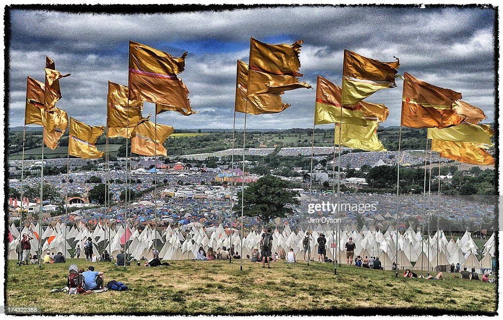 A view of the festival site from Pennard Hill during day 4 of the 2013 Glastonbury Festival at Worthy Farm on June 30, 2013 in Glastonbury, England.