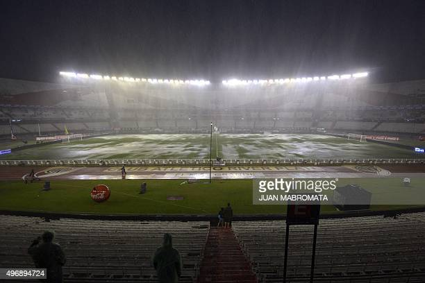 View of the field before the Russia 2018 FIFA World Cup South American Qualifiers football match Argentina vs Brazil in Buenos Aires on November 12...