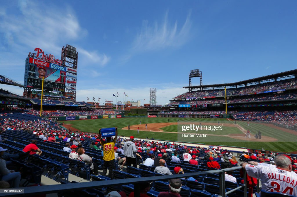 A view of the field during a game between the Philadelphia Phillies and the Seattle Mariners at Citizens Bank Park on May 10, 2017 in Philadelphia, Pennsylvania. The Mariners won 11-6.