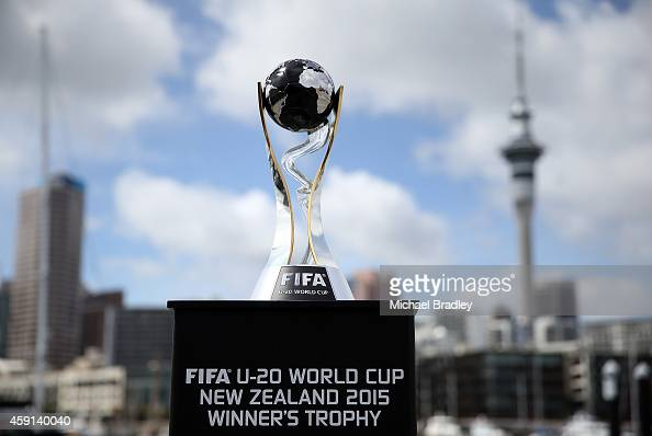 A view of the FIFA U20 World Cup at downtown Auckland with the Sky Tower in the background on November 18 2014 in Auckland New Zealand The FIFA U20...