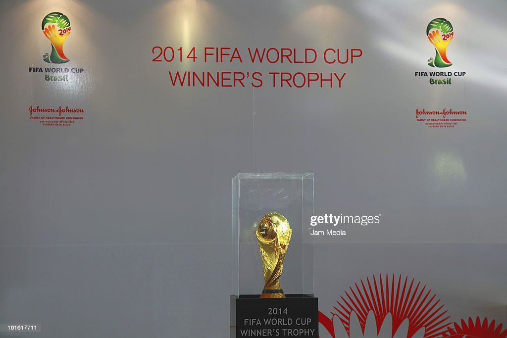 View of the FIFA World Cup during the presentation of the FIFA 2014 trophy in the Chamber of Deputies on February 12, 2013, in Mexico City, Mexico.