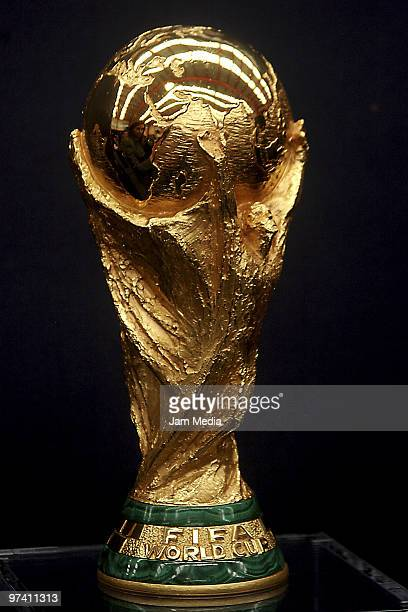 A view of the Fifa World Cup Trophy in exhibition as part of its world tour on March 3 2010 in Monterrey Mexico