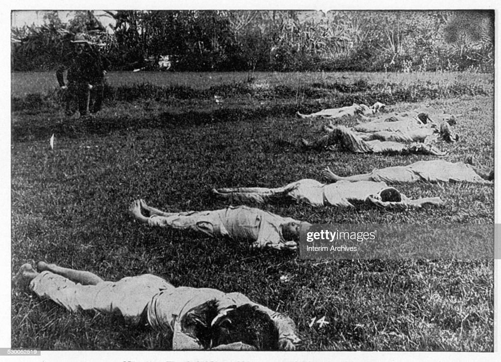 View of the Filipino dead at the battlefield of Caloocan Philippines circa 1899 From the photo book 'Scenes in the Philippines Cuba Puerto Rico the...