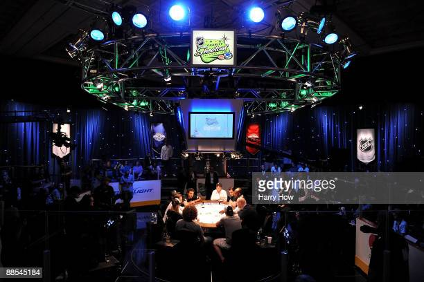 A view of the final table during the NHL Charity Shootout at the World Series of Poker at the Rio Hotel Casino in Las Vegas Nevada on June 17 2009