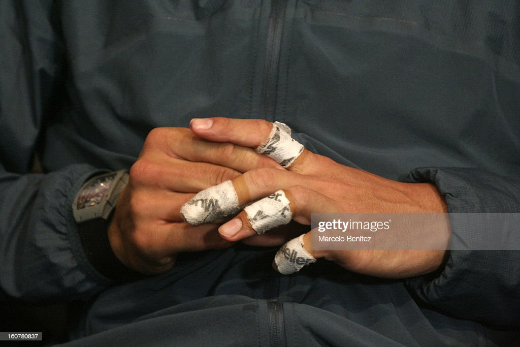 View of the fingers of Rafael Nadal during a press conference after a double tennis match between Rafael Nadal and Juan Mónaco against Frantisek Cermak and Lukas Dlouhya of Czechoslovak as part of the day 1 of the ATP Viña del Mar VTR Open 2013 on February 05, 2013 in Viña del Mar, Chile.