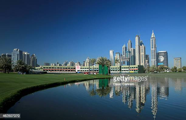 A view of the finishing hole in the morning during the second round of the 2015 Omega Dubai Desert Classic on the Majlis Course at the Emirates Golf...