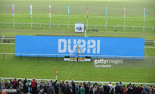 A view of the finishing line during The Future Champions Day racing at Newmarket Racecourse on October 17 2014 in Newmarket England