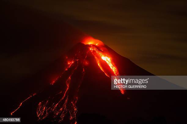 View of the Fire Volcano erupting from San Antonio community Colima State Mexico on July 12 2015 Hundreds of people were evacuated from villages...