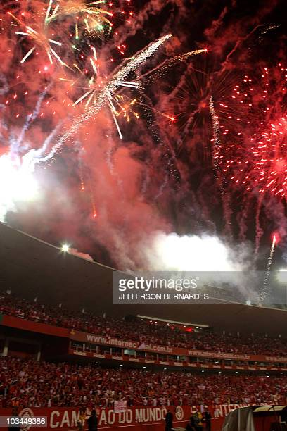 View of the fireworks after Brazilian Internacional defeated Mexican Chivas in the Libertadores Cup final football match at Beira Rio stadium in...