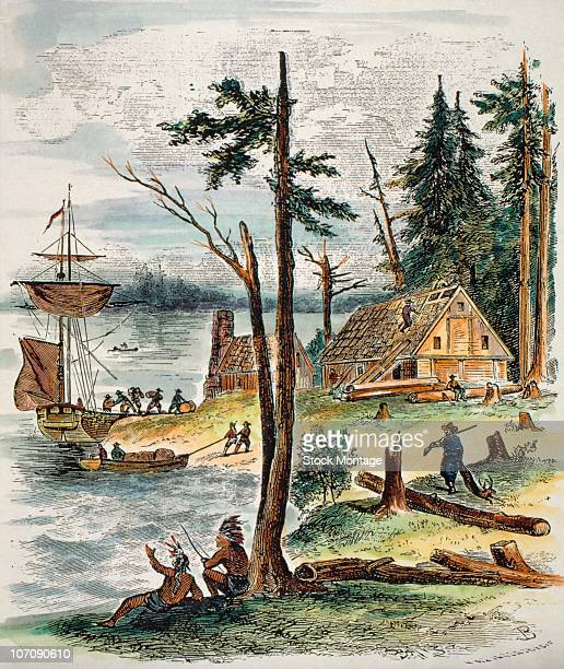 View of the first European settlement in New York City colonized in 17th century under the name New Amsterdam by the Dutch West India Company