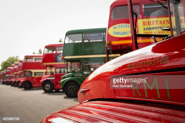 A view of the first London Routemaster bus to come into service RM1 before it is driven through Finsbury Park during a gathering of the buses to...