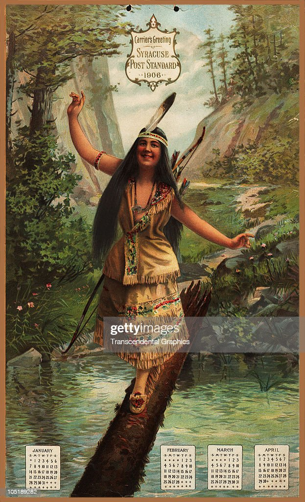 View of the first page of a calendar lithograph featuring the months of January through April and a portrait of an Native American woman as she...