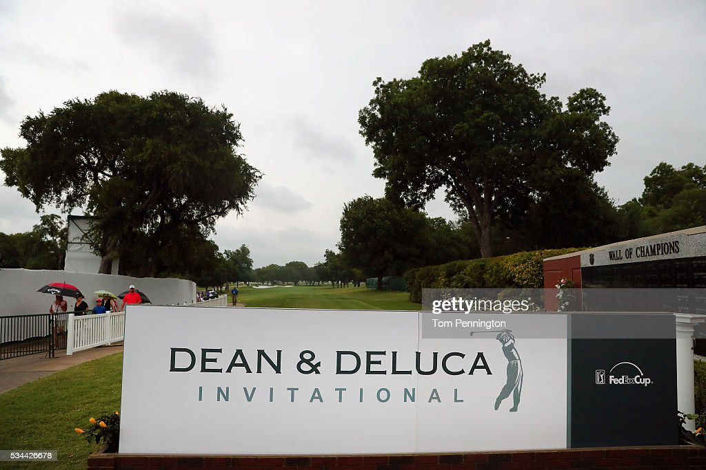 A view of the first tee after play was suspended during the First Round of the DEAN & DELUCA Invitational at Colonial Country Club on May 26, 2016 in Fort Worth, Texas.