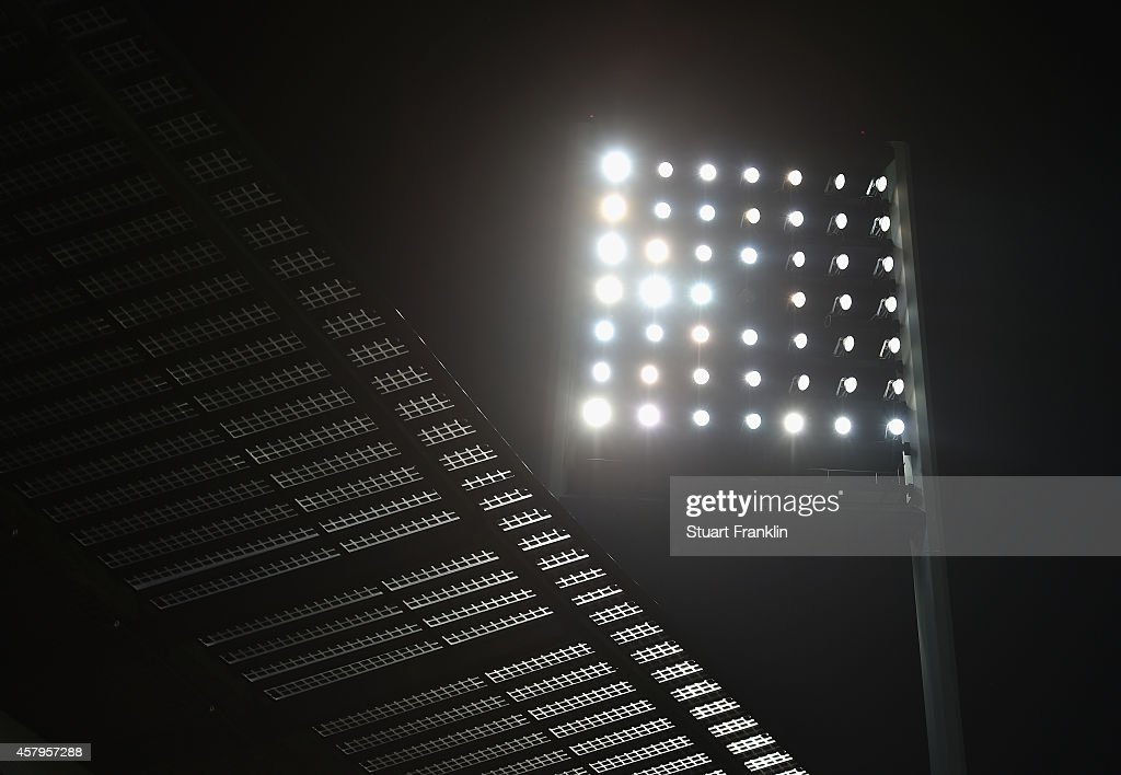 A view of the floodlights and roof of the Weserstadion during the Bundesliga match between SV Werder Bremen and 1. FC Koeln at Weserstadion on October 24, 2014 in Bremen, Germany.
