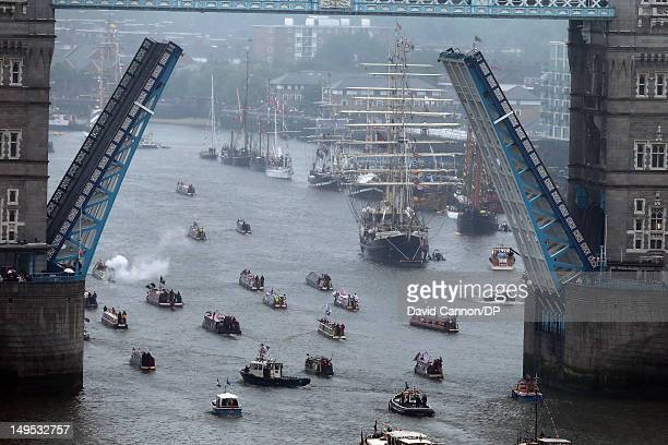A view of the flotilla from The Monument as the flotilla passes under Tower Bridge during The Diamond Jubilee Pageant on the River Thames on June 3...