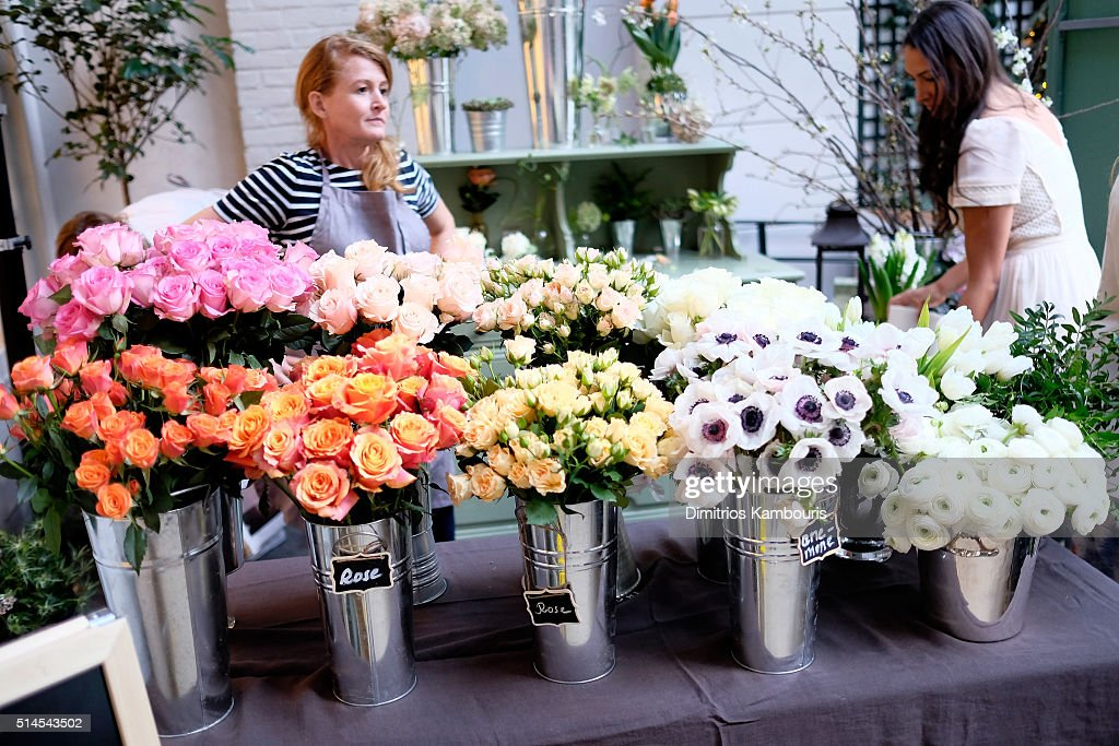 A view of the flowers on display as Jessica Alba and The Honest Company celebrate the launch of the Springtime in Paris Diaper Collection on March 9...
