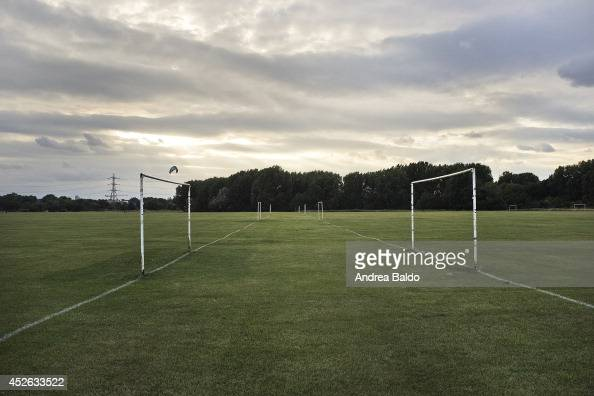 A view of the football pitch in the Hackney Marsh East London