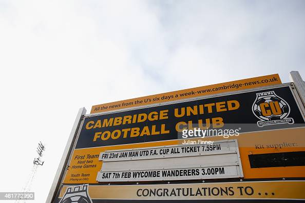 A view of the forthcoming fixtures at Abbey Stadium on January 19 2015 in Cambridge Cambridgeshire