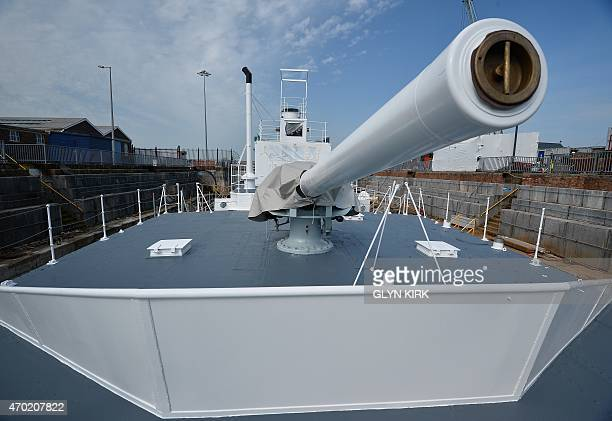 A view of the forward gun on the newly restored HMS M33 Minerva in Portsmouth's Historic Dockyard on April 16 2015 Britain's last surviving warship...