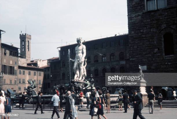 A view of the Fountain of Neptune in the Piazza Della Signoria on September 15 1963 in Florence Italy