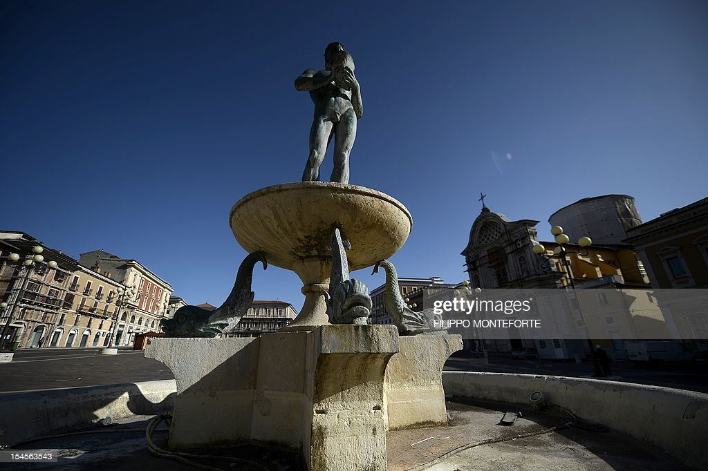 A view of the fountain on L'Aquila main square on October 22 2012 Six Italian scientists and a government official were found guilty the same day of...
