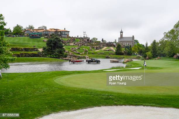 A view of the fourth hole during the first round of the PGA TOUR Champions Bass Pro Shops Legends of Golf at Big Cedar Lodge at Top of the Rock on...
