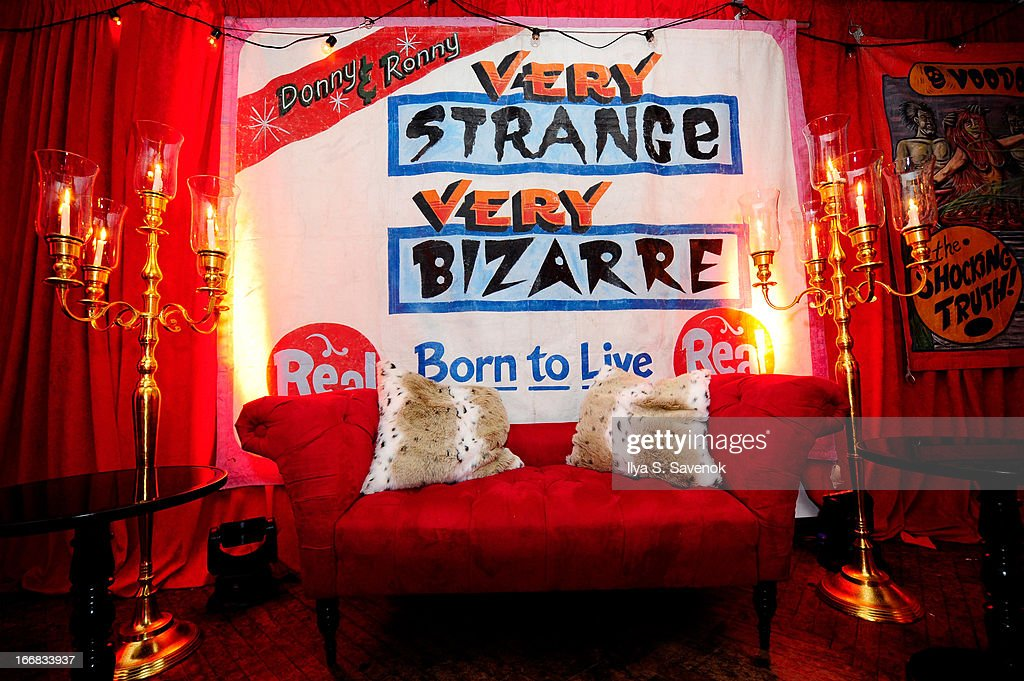 A view of the 'Freakshow' display at the AMC Upfront 2013 at the 69th Regiment Armory on April 17 2013 in New York City