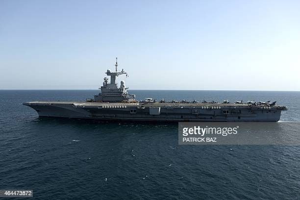 View of the French navy aircraft carrier Charles de Gaulle operating in the Gulf on February 26 2015 French warplanes carried out their first strikes...