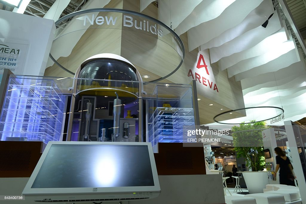 View of the French nuclear group Areva stand taken during the World Nuclear Exhibition in Le Bourget, near Paris, on June 28, 2016. / AFP / ERIC