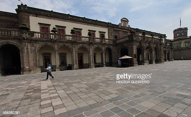 View of the front entrance of the Castillo de Chapultepec in Mexico City on July 2 2016 Built in 1785 the Chapultepec Castle one of the most...