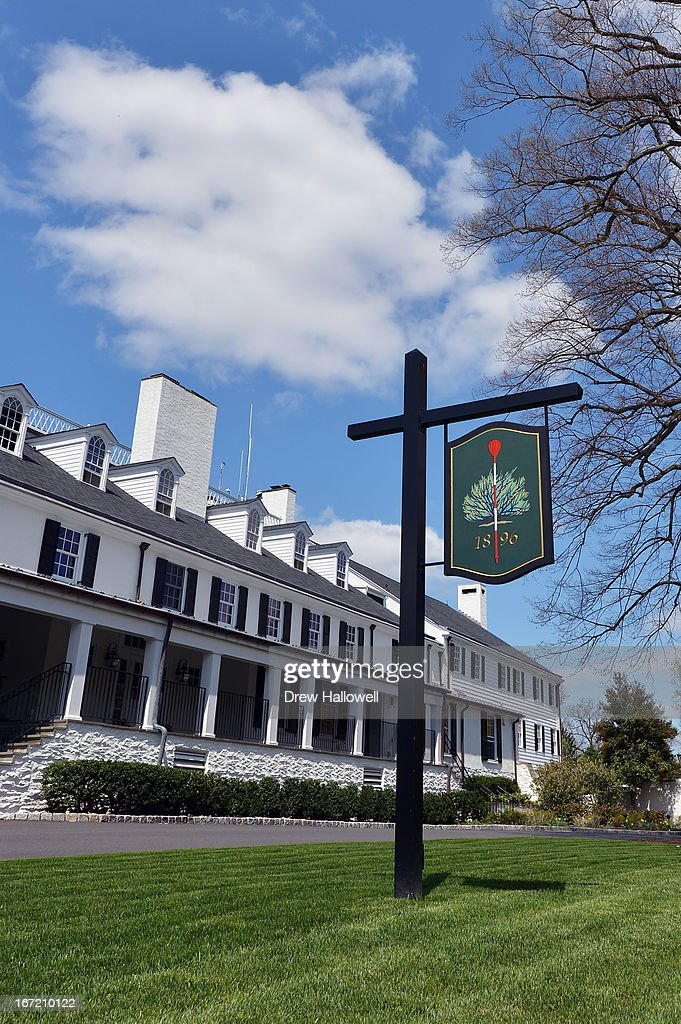 A view of the front of the clubhouse on the East Course at Merion Golf Club on April 22, 2013 in Ardmore, Pennsylvania. Merion Golf Club is the site for the 2013 U.S. Open that will be played June 13-16.