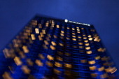 A view of the front of the Intercontinental Hotel after sunset during talks over Iran's nuclear programme on November 23 2013 in Geneva Iranian and...